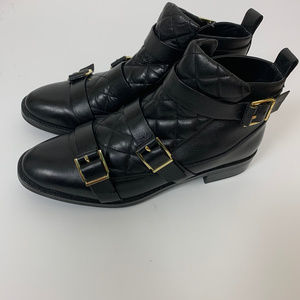 Zara Black Ankle Boots Buckle Quilted Size 39 or 9
